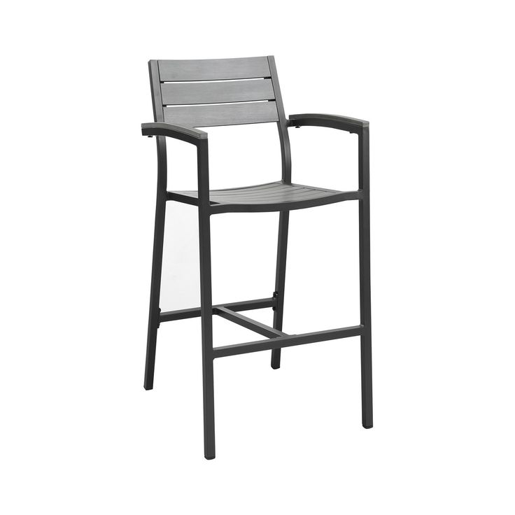 Maine Outdoor Patio Bar Stool in Brown Gray - Modway