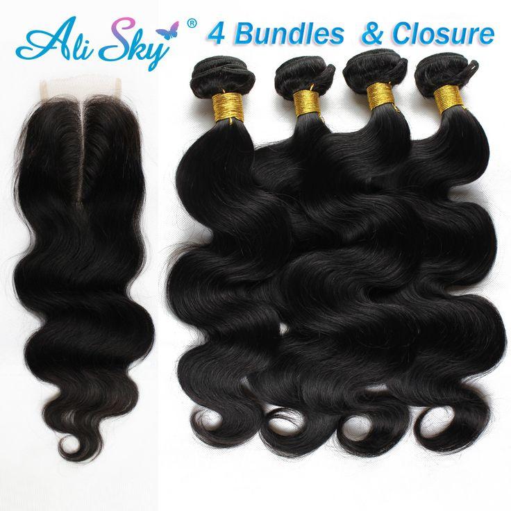 Kelas 7A malaysia virgin rambut dengan lace penutupan 4 bundel penawaran tubuh gelombang dengan penutupan malaysia tubuh gelombang rambut aliexpress uk