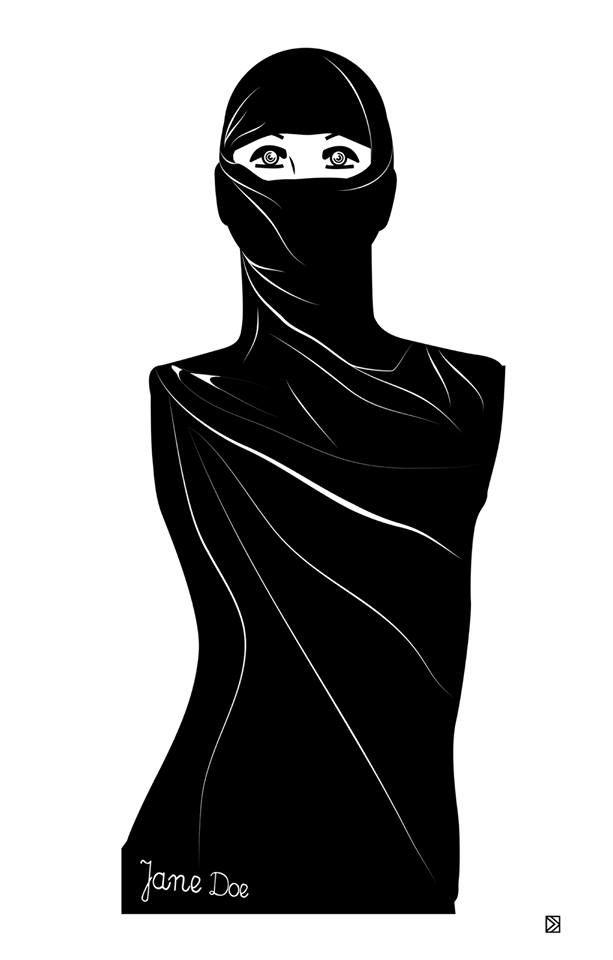 Jane Doe by Dorota Kraft  http://www.lumarte.eu/en/dorota-kraft/03-w588 #dorotakraft #janedoe #graphics #illustration #fineart #digitalart #art #lumarteartonline #lumarte #giclee #fineartprint #identity #gender #feminism