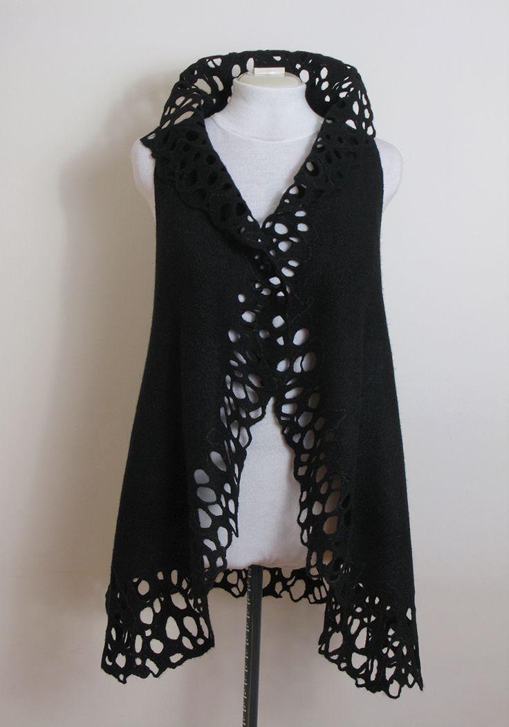Black Wool Silk Felted Vest for Women, Felted Jacket for Girl, Openwork Vest, Tracery Vest, Felt Fashion Clothing, Felted Waistcoat