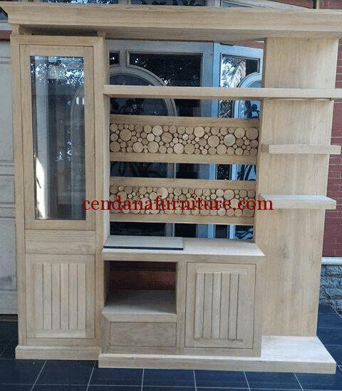 Bufet Partisi Minimalis Kombinasi terbuat dari material kayu jati solid ready stock unfinished yang merupakan produk mebel jepara yang cantik.