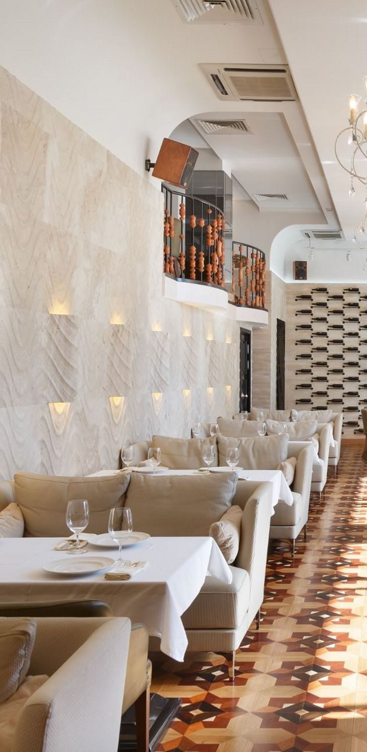 """An eclectic design for the """"Baku Restaurant"""" project by Archpoint (http://www.archpoint.ru/), where traditional architecture meets contemporary design, melting different cultures in a refined and bold setting. Our """"seta"""" from the """"Le Pietre Incise"""" collection."""