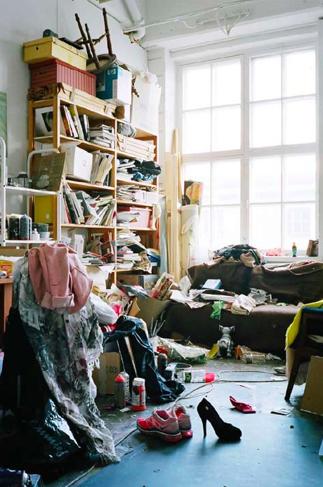 Anna Tuori's studio at the Cable Factory, 2012   Photo: Tuukka Kaila  (From the book Studio Visit / 18 artists' studios in Helsinki)