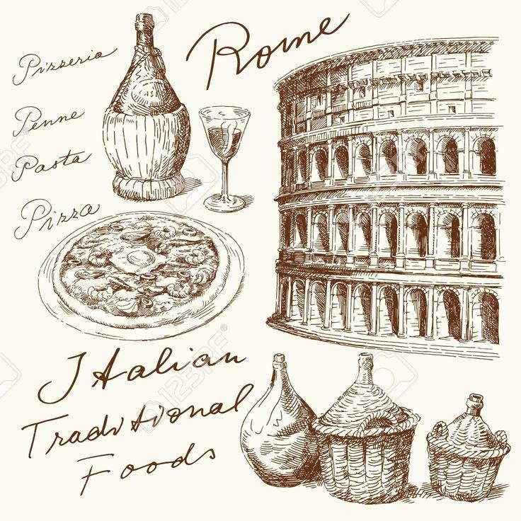 Kézzel Rajzolt Olasz Készlet Royalty Free Clip Artok, Vektorokt és Stock…