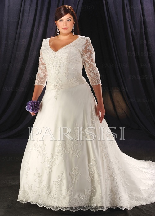 Fancy Wedding dress online shop taffeta v neck with tulle sleeves a line skirt with zipper and buttons clouser plus size wedding dress wp