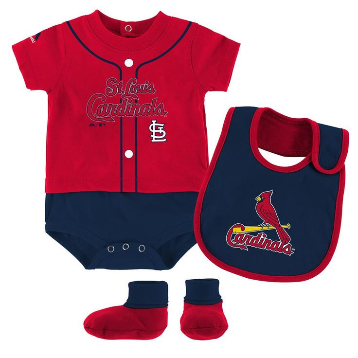 Cardinals Baby Ball Player Creeper Bib and Bootie Set