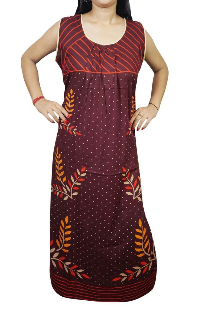 Indiatrendzs Women Nighty Printed Maroon Sleepwear Maxi Cotton Nightwear 44  | eBay #nighty #women #nightwear #nightgown #nightdress
