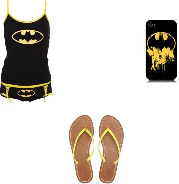 """Pijama Batman"" by gabriela-fernand ❤ liked on Polyvore"