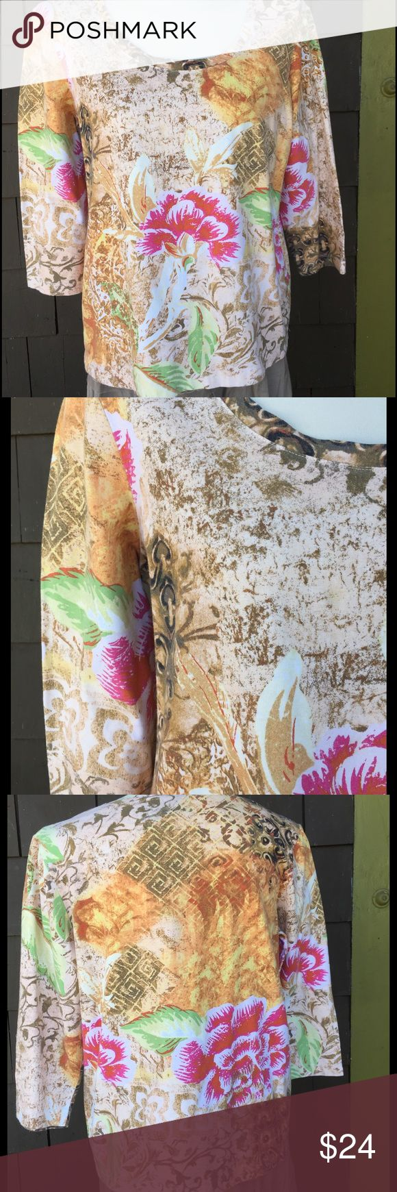 """Chicos floral tee Great looking 3/4 length sleeve top..  95% cotton. 5% spandex. 22 1/2"""" p2p. 24"""" long. In brand new condition. Chico's Tops"""