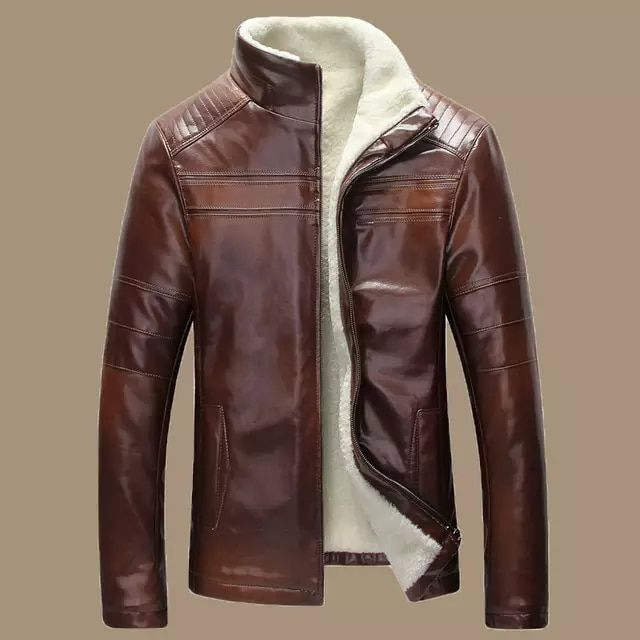Men/'s Marron Vieilli Véritable Peau De Mouton Cuir Trench Coat