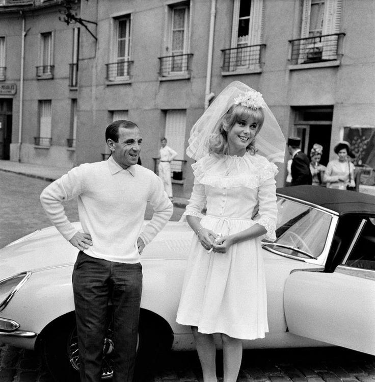 Charles Aznavour and Catherine Deneuve on the set of  La Vice et la vertu