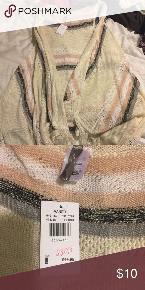 Striped vest with fringe New with tags Vanity Jackets & Coats Vests