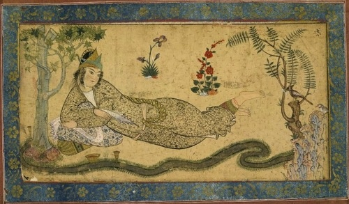 "timur-i-lang:    Qazvin school, Iran, ca. 1590-1600  ""Bilqis, the Queen of Sheba, reclines besides a meandering stream while holding a love letter that the hoopoe, perched in a bush at her feet, will deliver to her beloved, King Solomon.""Iran, Dynasty Art, Persian Inspiration, 1590 1600, Islam Miniatures, Miniatures Art, Miniatures Persan, Persian Miniatures, Asian Art"