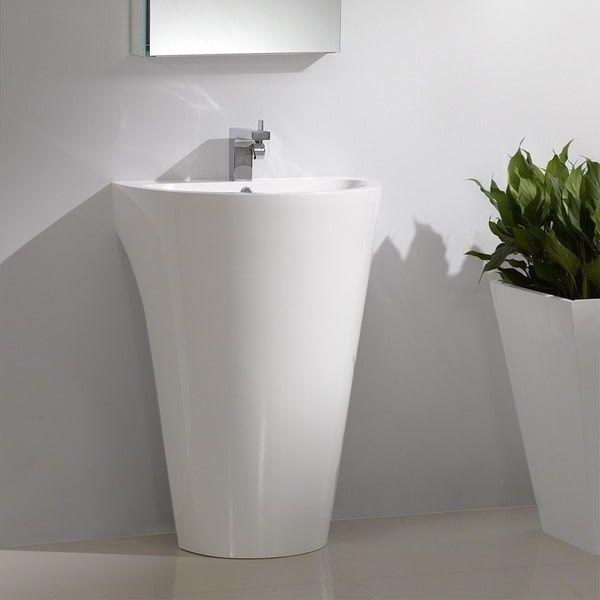 Fresca Parma White Pedistal Sink with Medicine cabinet