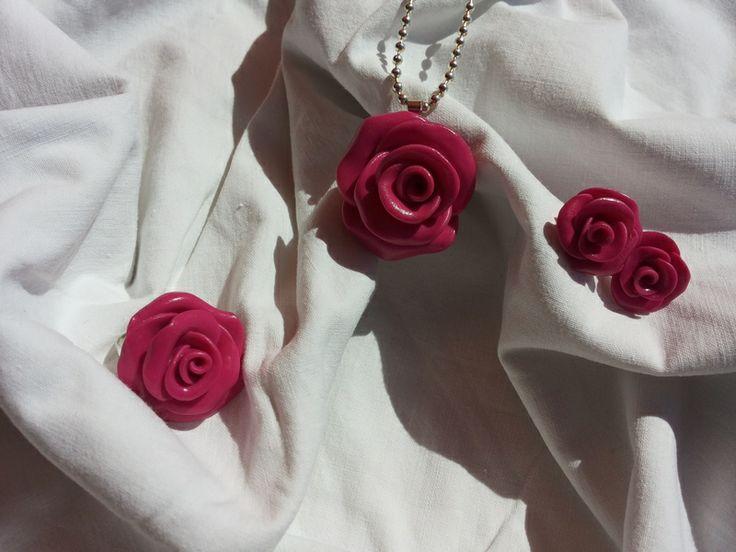 conjunto rosas fucsias de ARTPERSONAL por DaWanda.com