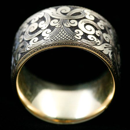 Montana watch company Sterling silver ring with Western single-point hand engraving. Hand fabricated by Elachai Fowler of Paradise Ring Works and custom engraved from the studios of Ernie Lytle.