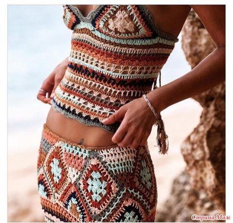 Вот такие схемы не встречались? Или онлайн. Бабушкин квадрат. Летний пляжный комплект, юбка топ крючком.