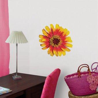 Gerbera galbena : Stickere Colorate - ★ Stickere Decorative ★ Stickere.Net ✫ Autocolante decorative de perete ®