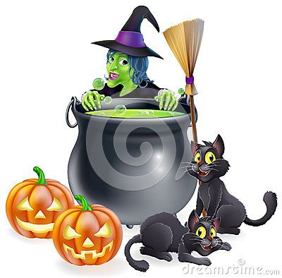 Vector Illustration about Witch Halloween Scene