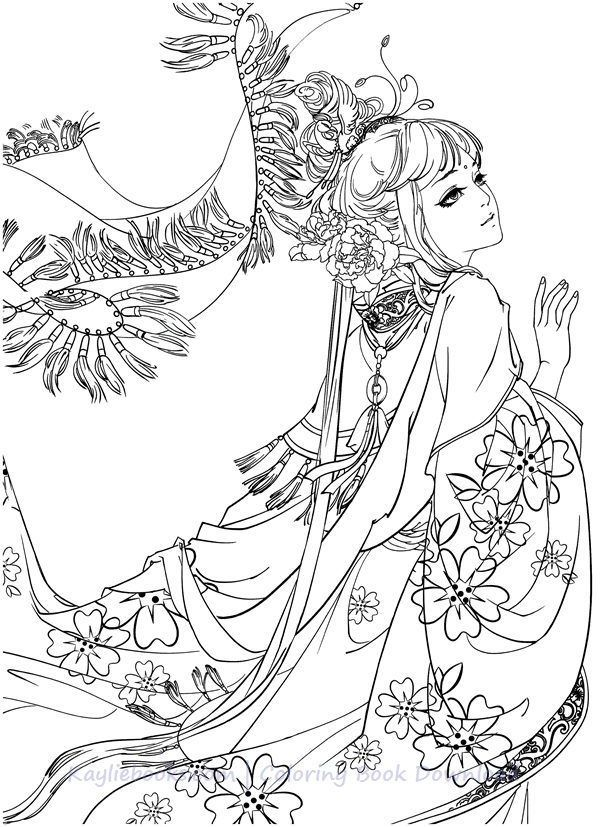 Download Classic Chinese Portrait Coloring Book Pdf Printable Hd Detailed Coloring Pages Fantasy Coloring Pages Coloring Books