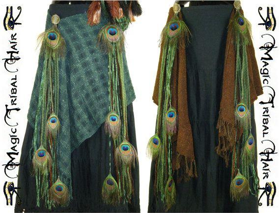 Costume de danse du ventre de reconstitution « Elfe de la forêt » HIP combinaison Fantasy Larp PEACOCK Feather Tribal Fusion Wrap jupe 2 x extensions de chutes de fil