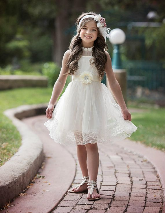 Flower girl dress, lace flower girl dress,flower girl dresses, rustic flower girl dress, baby dress, ivory lace dress, easter dress, country