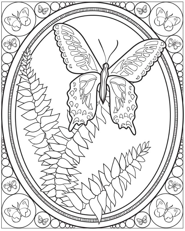 adult coloring page from creative haven coloring book butterfly designs dover publications