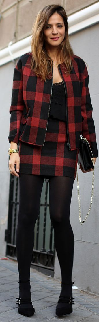 Red And Black Checkered Skirt And Top Set by LadyAddict