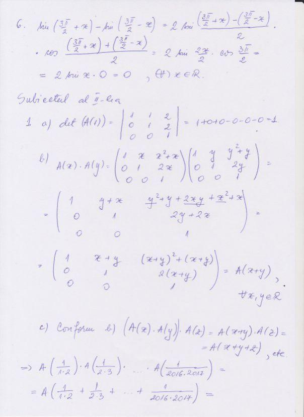 Bacalaureat 2016. Rezolvare subiecte matematică, filiera teoretică, profilul real, specializarea Matematică Informatică