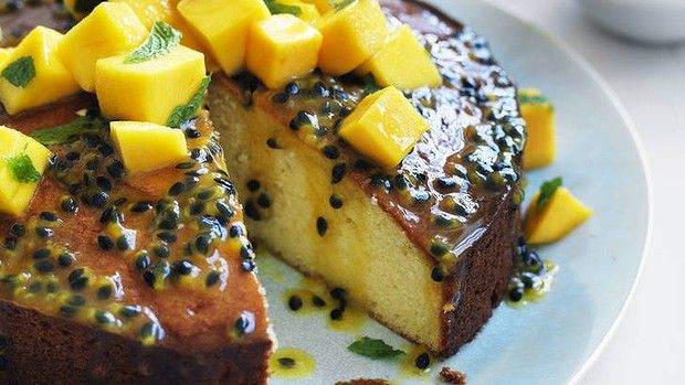 Chef Neil Perry's Passionfruit Syrup Cake with Mango Salsa.