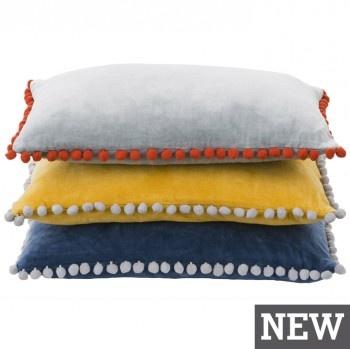 Linen & Moore PomPom cotton-velvet cushions