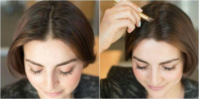 Чтобы волосы казались более густыми, нанесите тени того же оттенка, что и волосы, на пробор.