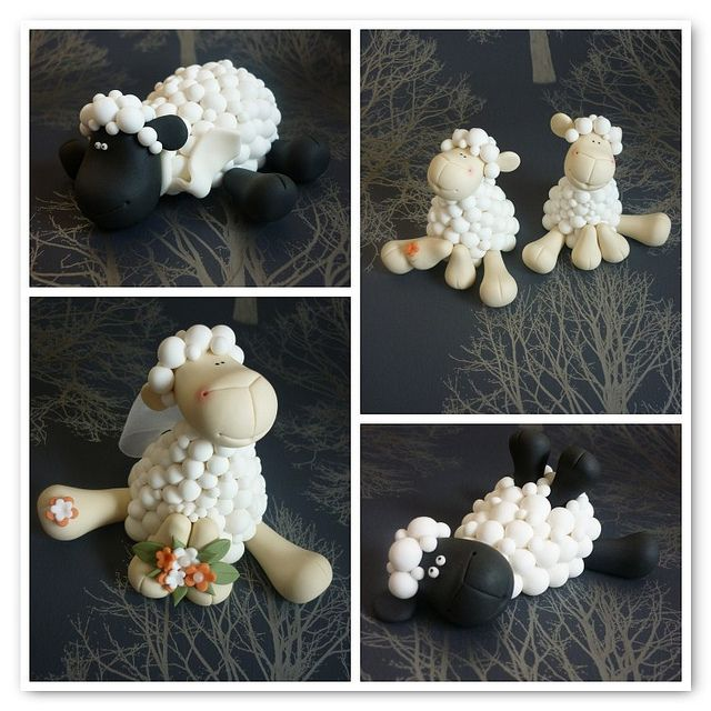 Sheep wedding cake toppers by The Designer Cake Company, via Flickr- I wouldn't mind these - they're super cute!