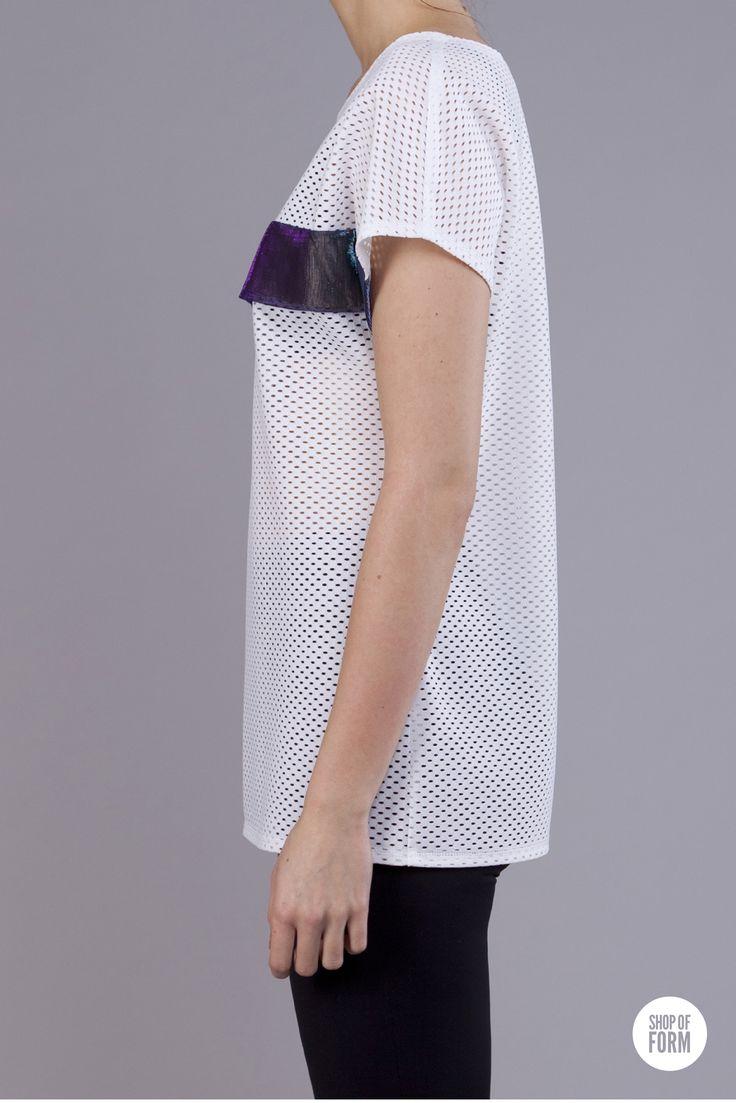 #t-shirt by Blazej Telinski #fashion #young #polish #designers #Poland #Lodz #festival #white #holes #futuristic #shopofform photos are made by Marta Jagielska.