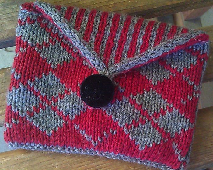 Free Knitting Pattern For Argyle Clutch The Bag Of Tricks Features