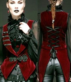 Punk Rave red velvet Red Swan vest with tux tails and lacing at back available at www.ipso-facto.com