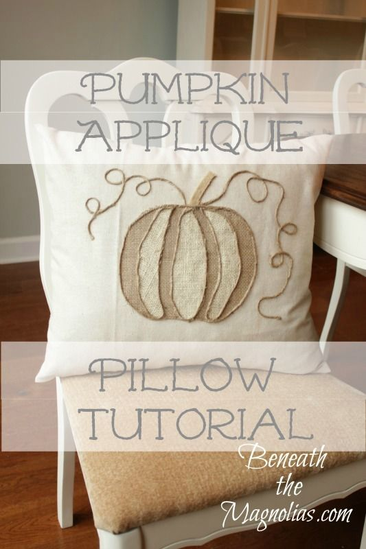 DIY No Sew Pumpkin Applique Tutorial (Pottery Barn Inspired Pillow) from Beneath the Magnolias. 2 different colors of burlap (or any fabric you want).