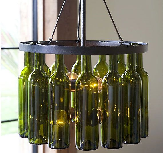 Authentic Green Glass Wine Bottles Lend Artistic Impact To Our Striking Bottle Chandelier It Has A Rasped Finish That Gives Each Individual