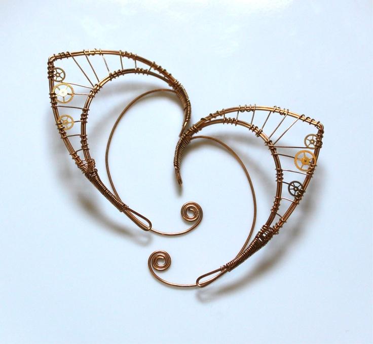 Bronze elf ears with watch gears, via Etsy.: Diy Elf Ears, Ears Heavy, Rock, Random Stuff, Craft Ideas, Geeky Stuff