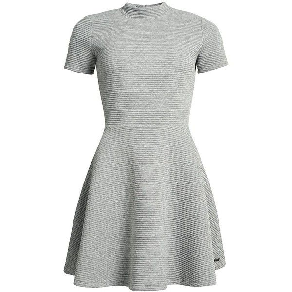 Superdry Erin Collar Dress ($53) ❤ liked on Polyvore featuring dresses, grey, women, collar dress, grey skater dress, short-sleeve skater dresses, short sleeve skater dress and fitted tops