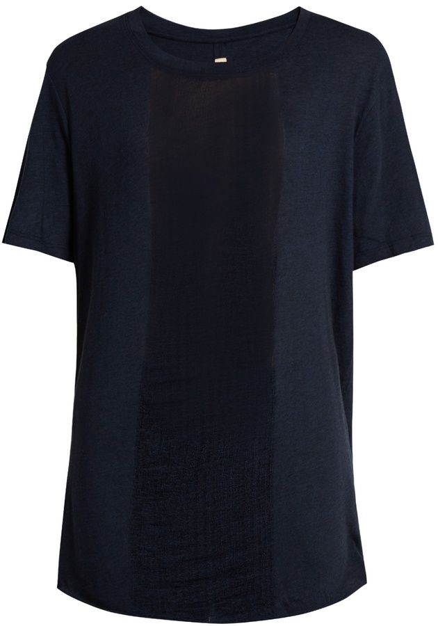 RAQUEL ALLEGRA Shredded-front cotton-blend T-shirt