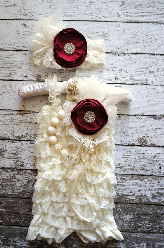 3pc,Ivory Vintage Lace Romper,Petti Romper,Petti Romper Set,Baby Romper,Vintage Headband,Newborn Photo Prop,Valentine Outfit,Toddler