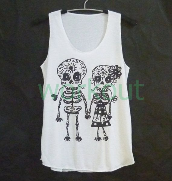 Cute clothes Skull tank top S M L XL Mexican skull art/ sun moon/ lover print/ white sleeveless top/ women t shirt/ teen girls clothing