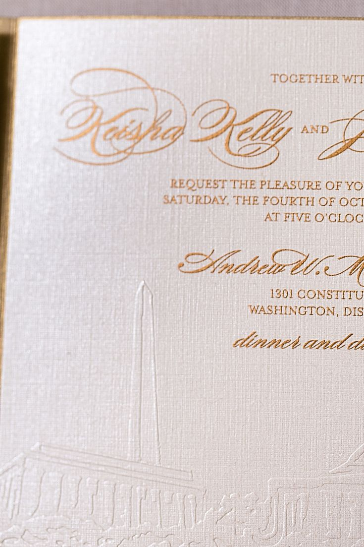 We custom designed a Washington DC map pocket style invitation. The invitation was embossed with the Washington DC skyline and printed with gold ink. Washington DC custom invitations need a map too and we designed a custom map with all of the landmarks and wedding location. Click to see the details of this invitation or pin for later!