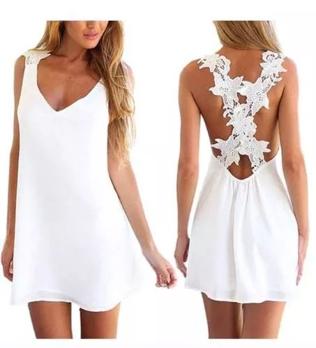 Vestido Sexy Mujer Blanco Crochet Chiffon 100%calif/envios - $ 699,00
