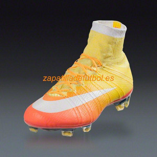Caliente Botas De futbol Nike Mercurial Superfly FG Brillante Mango Naranja Laser Opti Blanco Amarillo