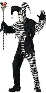 Black and White Evil Jester Halloween Costumes http://www.partypacks.co.uk/black-and-white-evil-jester-costume-pid79897.html