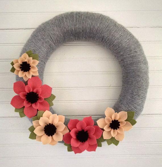 Spring wreath felt flower wreath peach & coral wreath by madymae