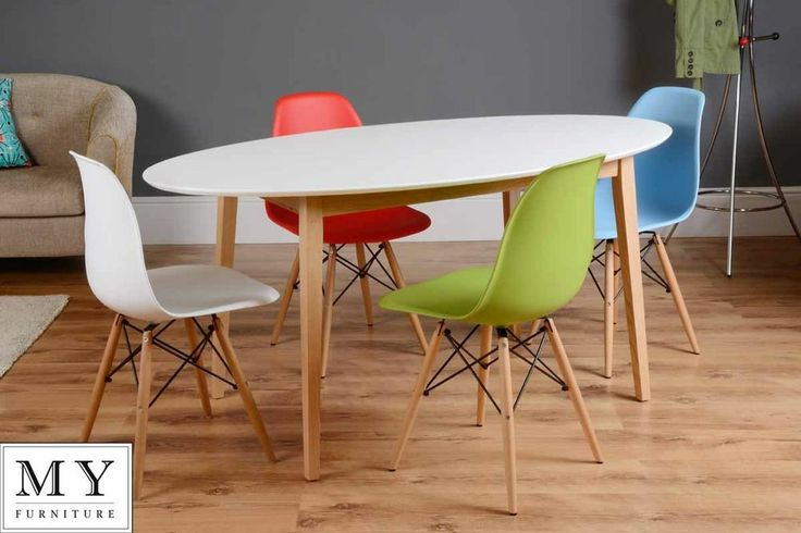 £359 Dining table retro solid oak lacquered white gloss Round Oval  + 4 Eames chairs
