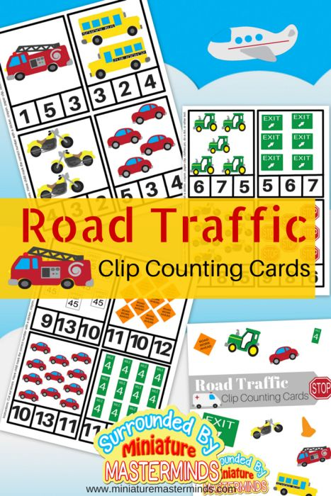 Cars, Trucks, And Planes Traffic Themed Clip Counting Cards